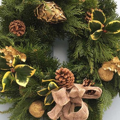 10 inch Gold Christmas Wreath