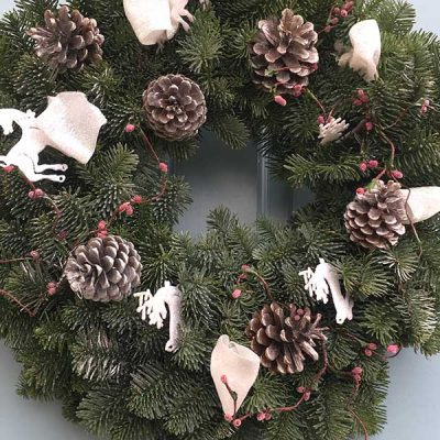 10 inch White Christmas Decorated Wreath