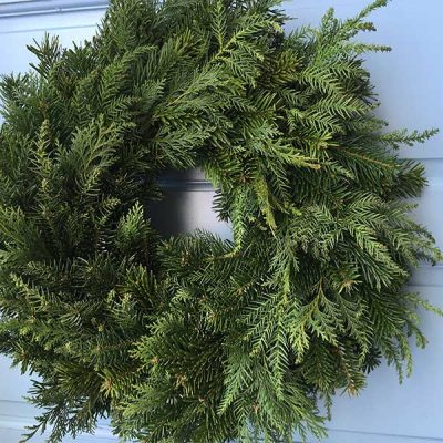 12 inch undecorated Mixed foliage Wreath