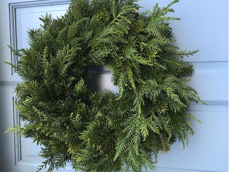Christmas Wreath.12 Inch Undecorated Mixed Foliage Wreath