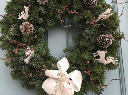 12 inch White Christmas Decorated Wreath